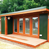QC7 garden studio annexe with 3' flyover roof and 6' decking