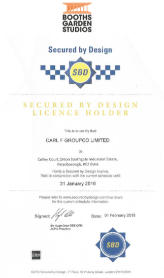 certificate to show that locks are insurance rated in the garden studios