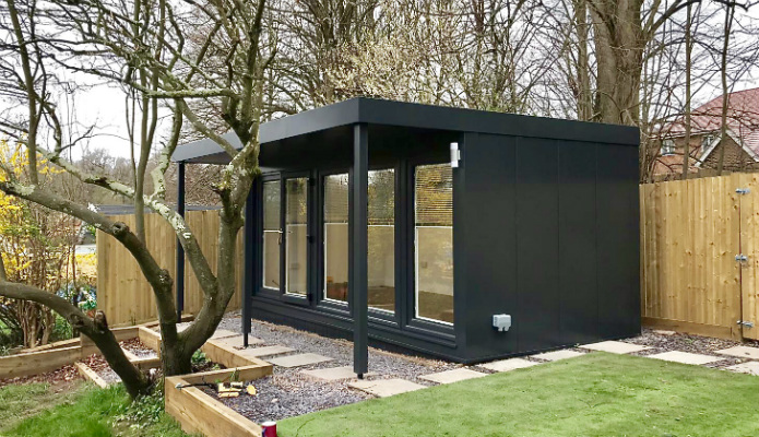 The new QCB2 garden office with a flyover roof on it's frontage