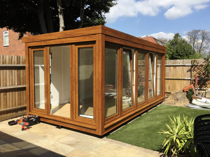 garden office with windows on two sides for extra light and better views within your garden